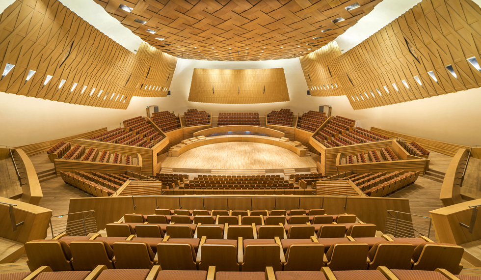 The beautiful Shanghai Symphony Hall, designed by architects Isozaki Arata and Yasushisa Toyota