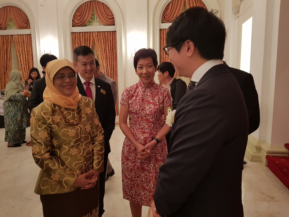 With the President of the Republic of Singapore Halimah Yacob, and Minister for Culture, Community and Youth, Grace Fu on 24 October 2017
