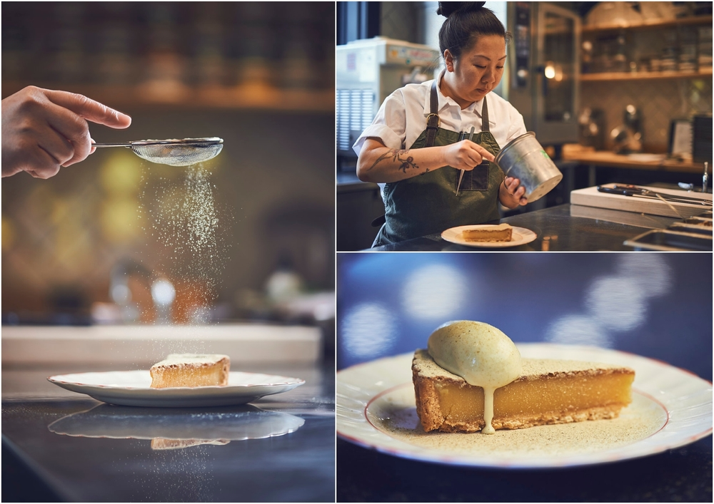 "Celeste Mah, working on one of her best selling desserts. ""The vinegar pie at The Merchant Tavern has a buttery sagamite (heritage-corn) crust and a filling that combines house-made apple-cider vinegar with smoky maple syrup and sweet cinnamon."" - VALERIE HOWES"