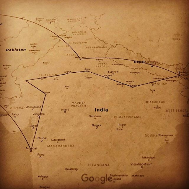 The plan: eight cities in India + London. We'll see what actually happens. #adventure