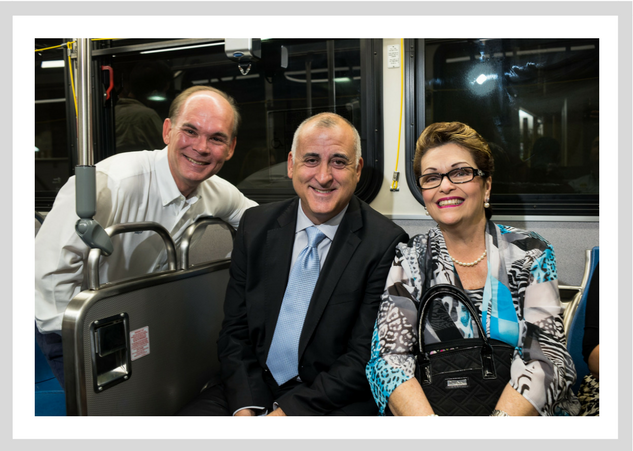 Palmetto Bay Mayor Eugene Flinn, Miami-Dade County Commissioner Esteban Bovo, and Miami-Dade CountyCommissioner Rebeca Sosa take the bus on Public Transit Day.
