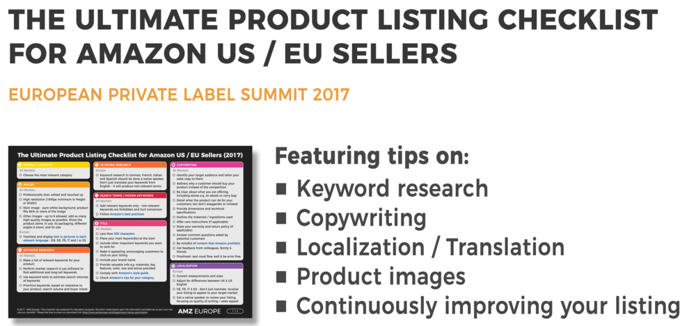 Amazon Europe Listings - Optimization Checklist - European Private Label Summit 2017