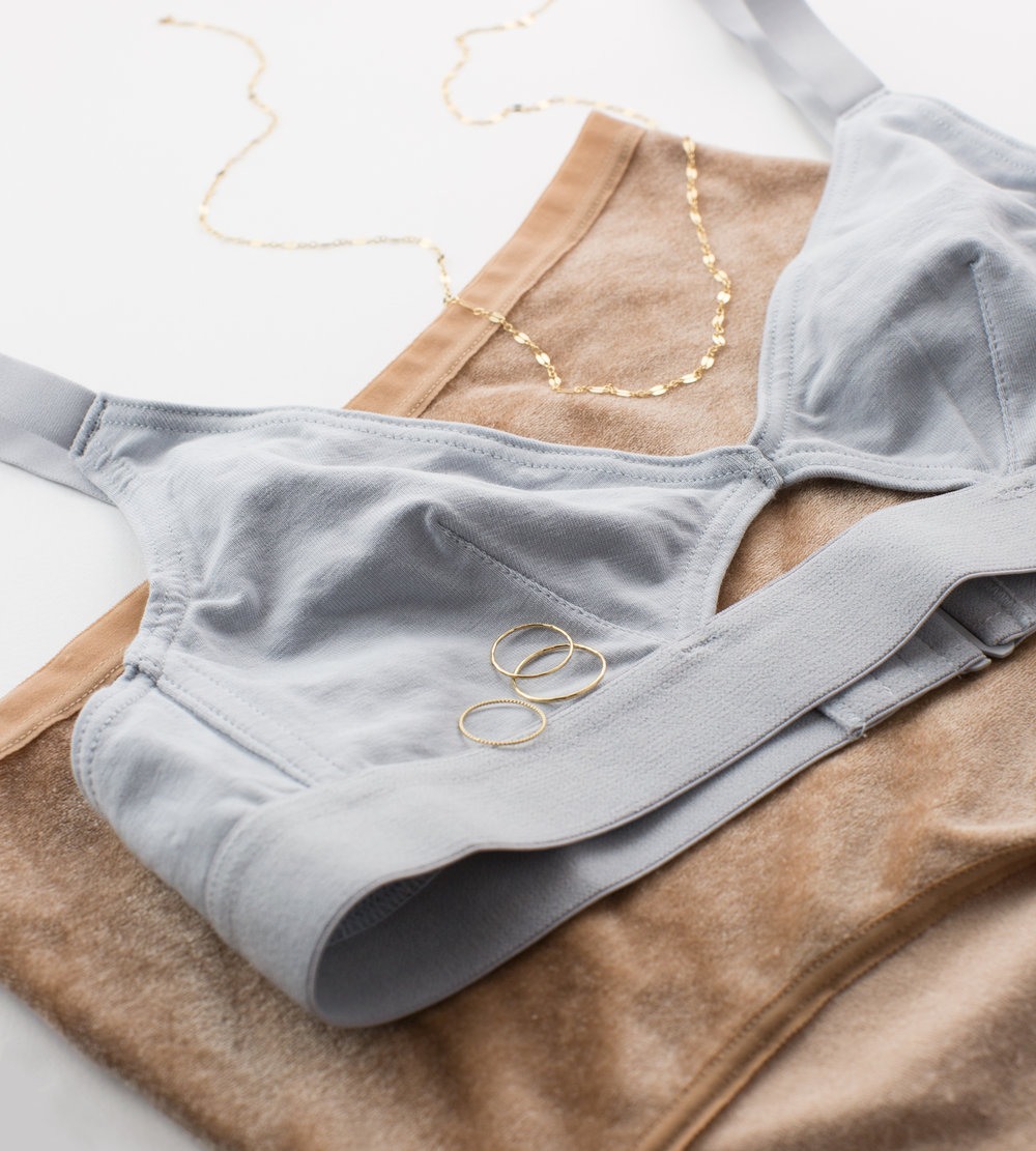 UNDIES:   The Nude Label  Bra,  Baserange  Undies.   GLDN JEWELRY:  Adria  Stacking   Rings,   Lace Chain  .