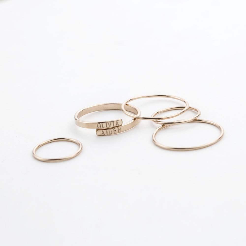 Personalized Hug Ring, Dainty Adria Stacking Rings
