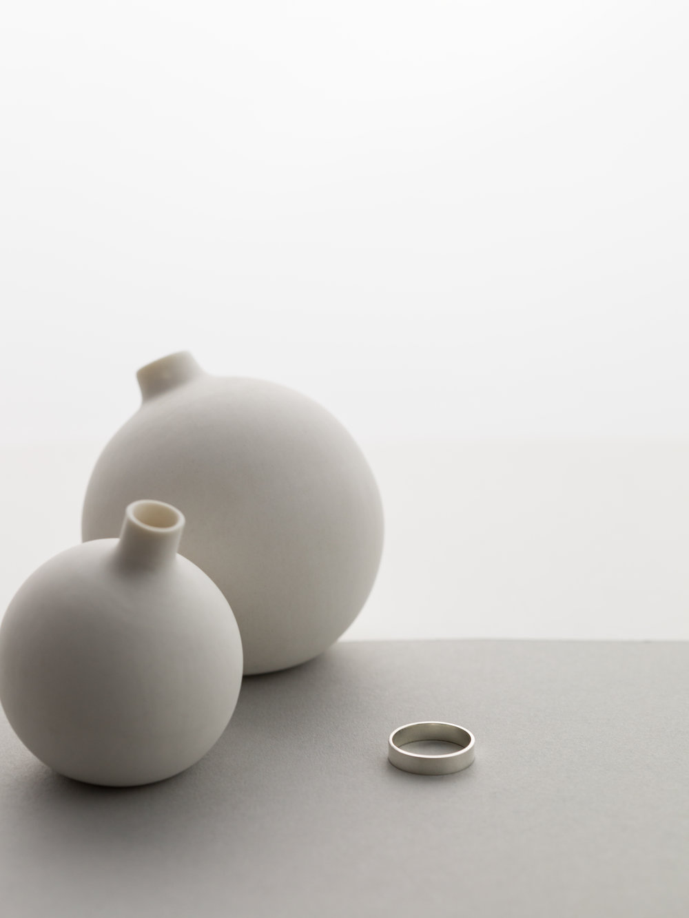 Porcelain Vessels: TOKYO CRAFT STUDIOS.  Ring: by GLDN, coming soon.