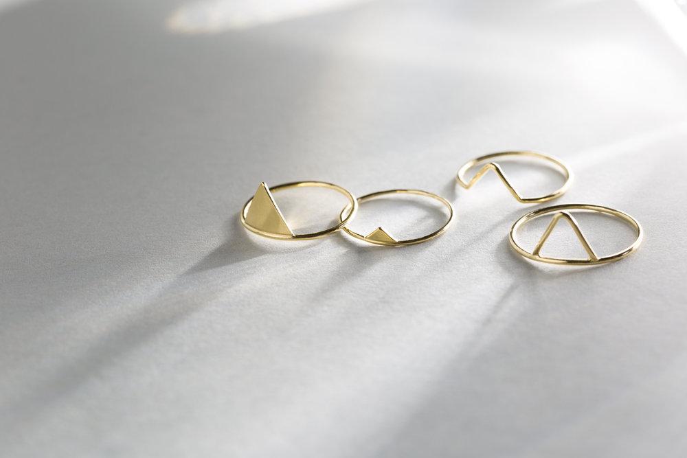 LEFT:  Tikal Ring ,LEFT CENTER:  Picchu Ring ,RIGHT CENTER:  Castillo Ring , RIGHT:  Teoti Ring