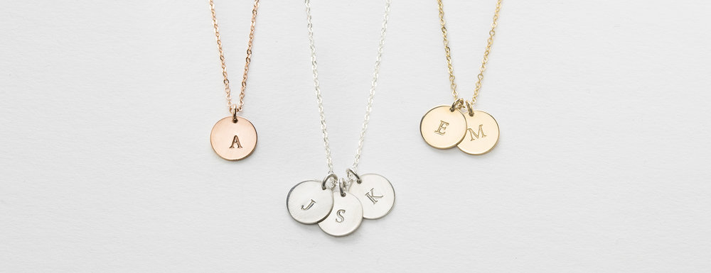 Small Disk Necklace  with Initials