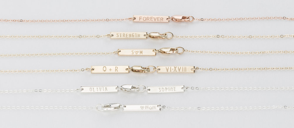 Add-on Personalized Tiny Bar Tags  for Necklaces and Bracelets.