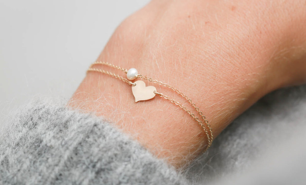 Dainty Bracelets:  GEMSTONE LINK Bracelet  with the  SMALL HEART Bracelet .