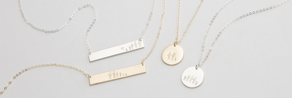 Stick Family Necklaces:  Original Bar Necklace ,  Medium Disk Necklace