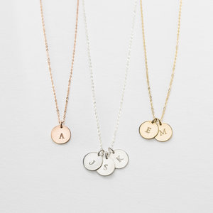 Lor initial necklace gldn small disk initial necklace mozeypictures Image collections
