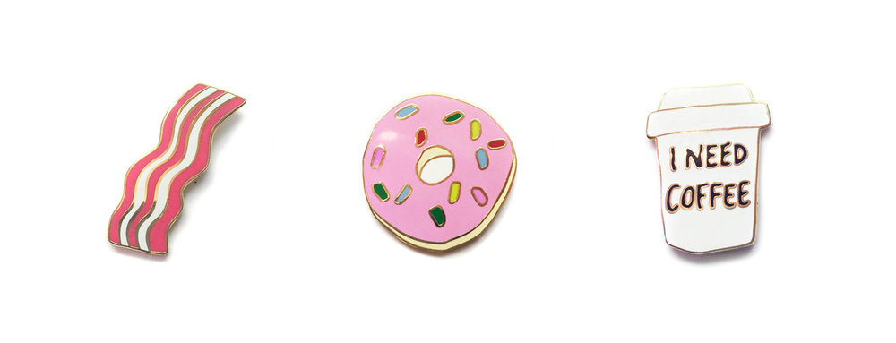 food donut bacon coffee enamel pins