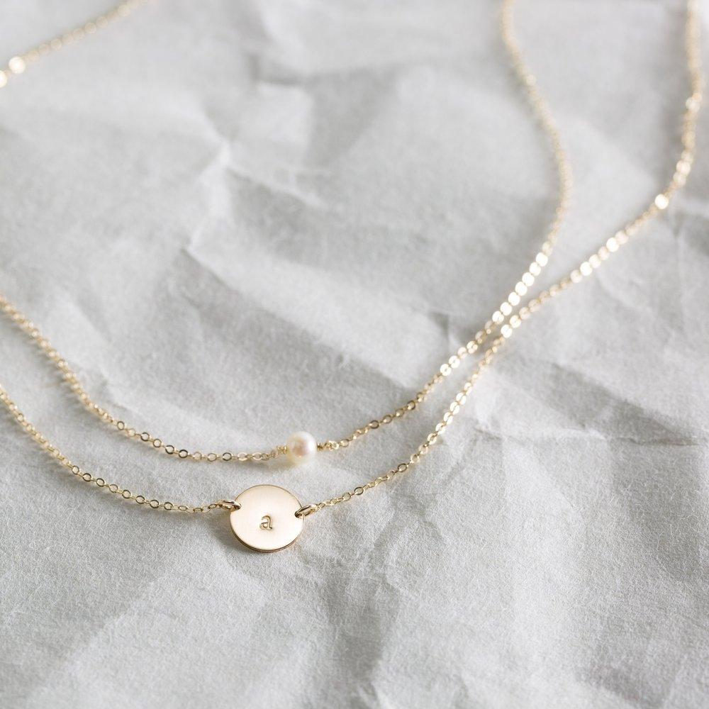 Layered Set: Mila Disk + Simple Gemstone Necklaces — GLDN