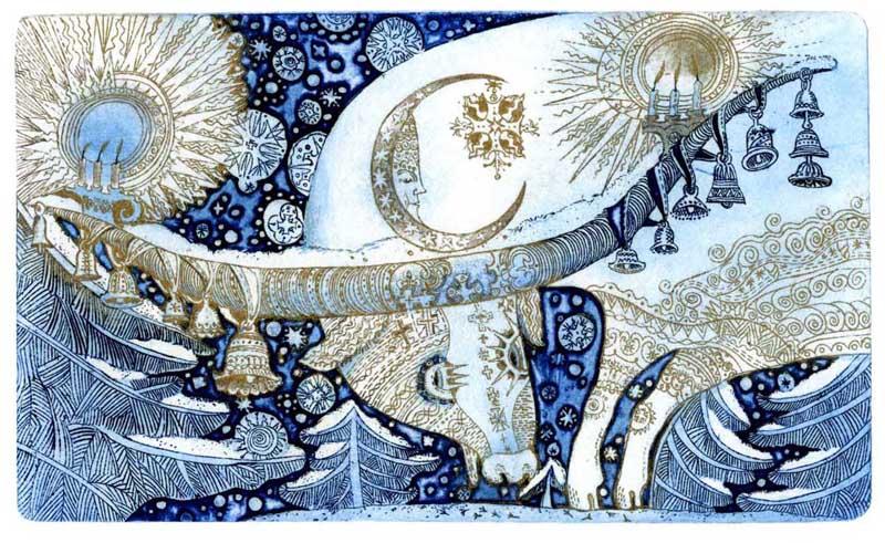 """Winter Eve"", an etching by Iryna Karpenko"