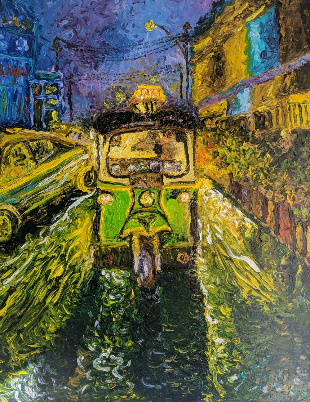 Runa Gedam, Oil on canvas, The one we love to hate, the Rickshawala, 24 x 30 inches