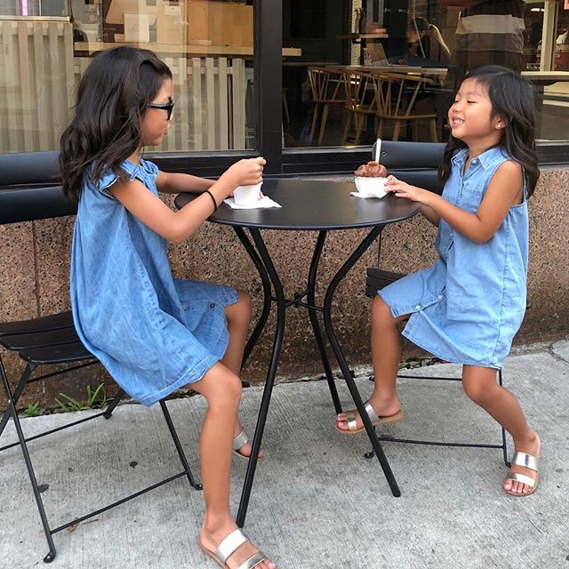Waiting for spring weather so we can look as happy as these two @ava.mia 🍦🍦🍦🍦🍦