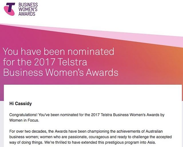 Oh my! Holy moly! This just showed up in my inbox. I'm so honoured for this nomination @commbank Women in Focus. I'm honestly blown away - thank you! ❤ #telstrabizwomen #telstrawomensbusinessawards #makeyourmark #commbank #womeninfocus #bestdayever #makeyourmark #women #girls #education #socent #stationery