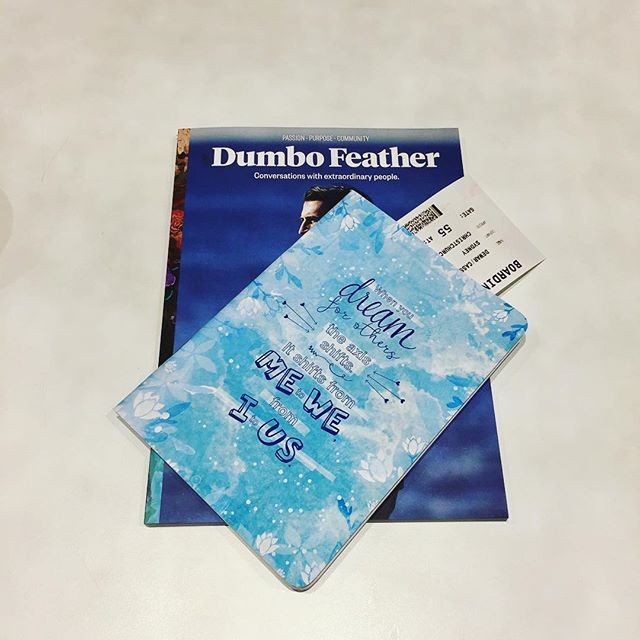At the airport on our way to the Social Enterprise World Forum @sewf2017 in New Zealand. Just picked up a copy of @dumbofeather for the flight and one of the notebooks we printed for @naomilarnold to jot down and words of inspiration! #sewf17 #socent #dumbofeather #christchurch #newzealand #notebook #girlseducation #blue #airport #books #magazine