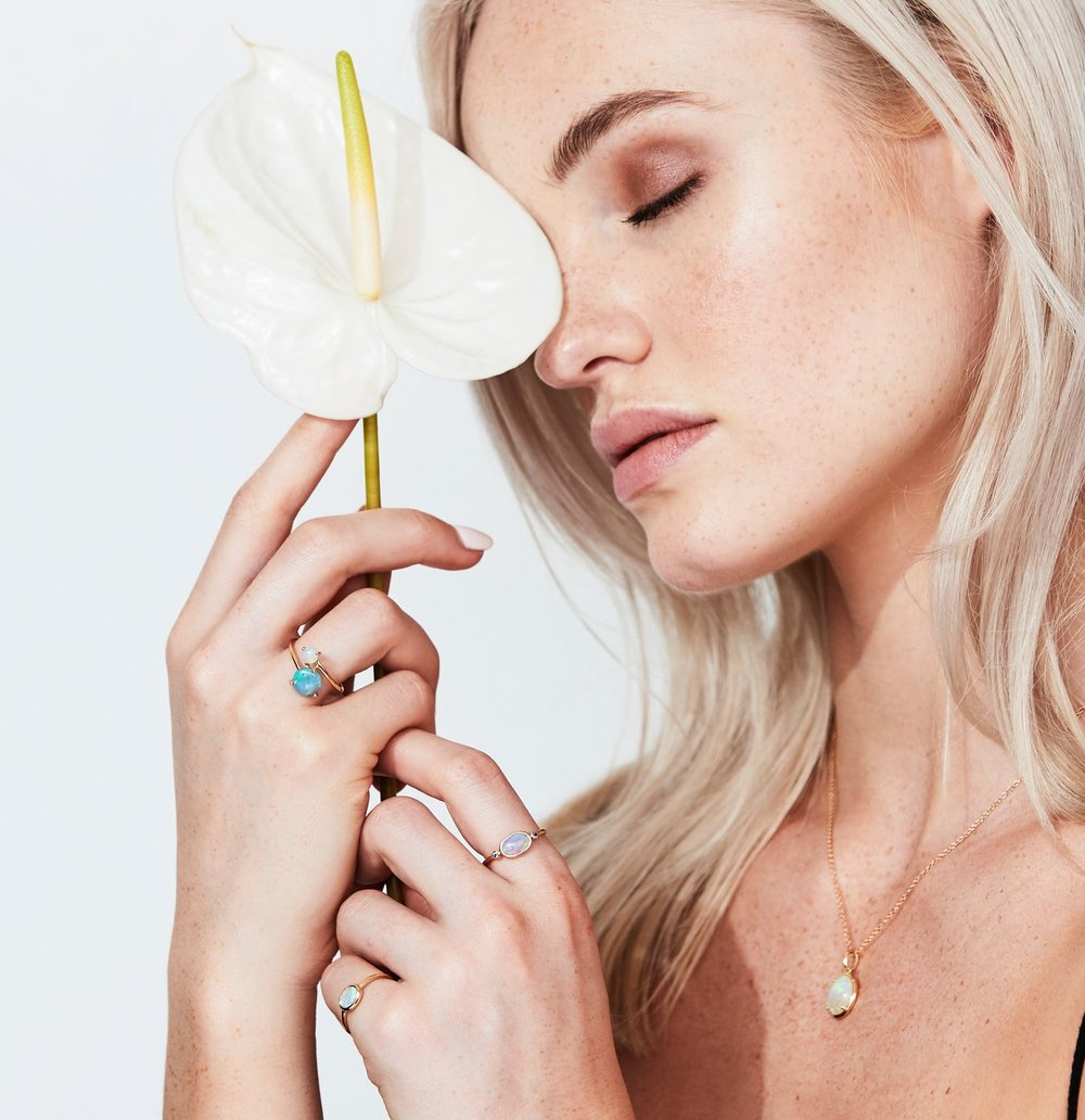 Ethereal. - There is nothing quite like the beauty of an opal, it's essence is otherworldly. With this collection, we wanted to create a timeless ode to the earth, a wearable reminder of nature and all it's glory. These pieces are designed to be kept forever, and worn daily as a sleek element that enhances a sophisticated sense of femininity.