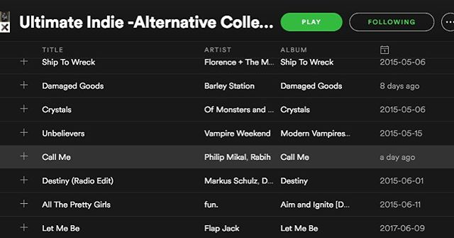 Call Me added to Ultimate Indie - Alternative playlist on Spotify! #music #nowplaying #spotify #playlist