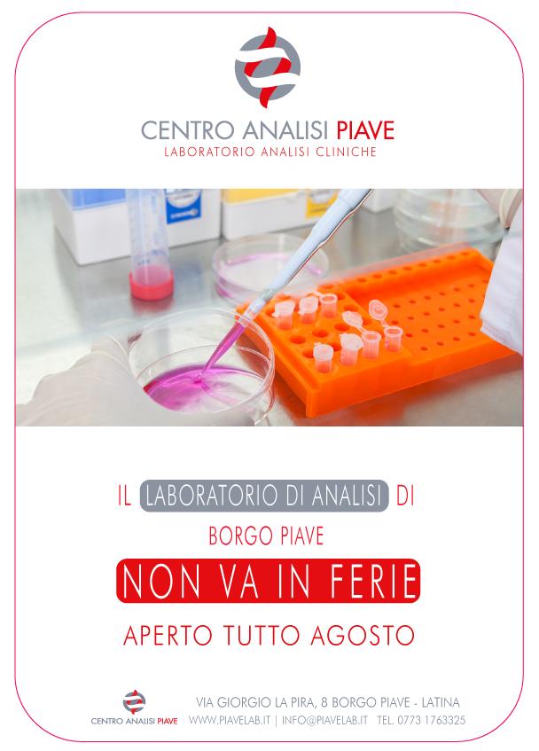 Laboratorio analisi cliniche aperto agosto Latina