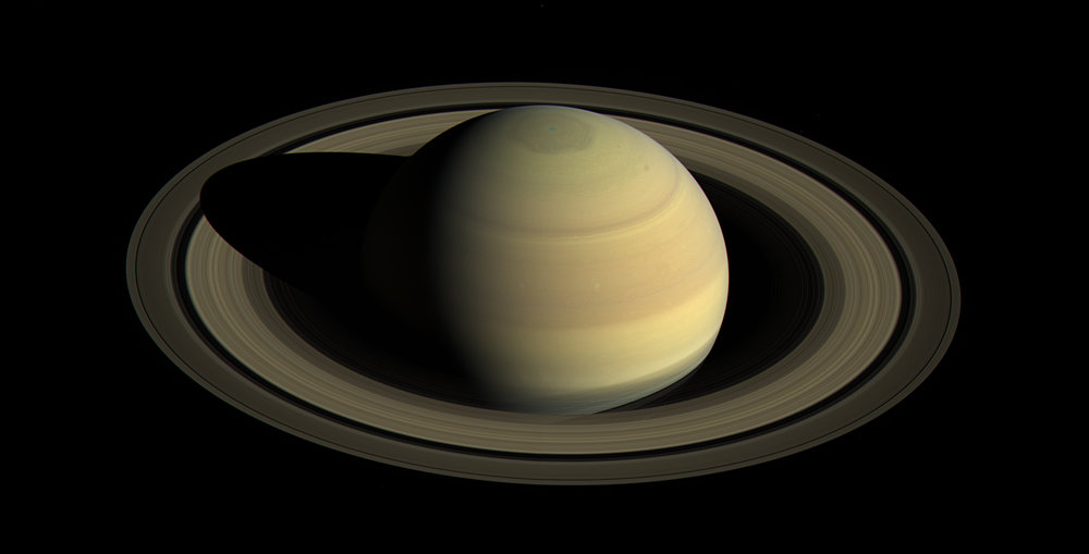 An image of Saturn and its rings, obtained by the Cassini space probe. NASA/JPL