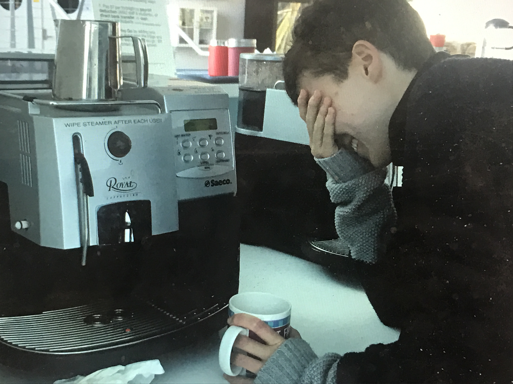 "Henry Zovaro forgets to catch his coffee in his mug, invoking a true scientific paradox: ""what do I need to do if I need coffee to figure out how to get my coffee?"""