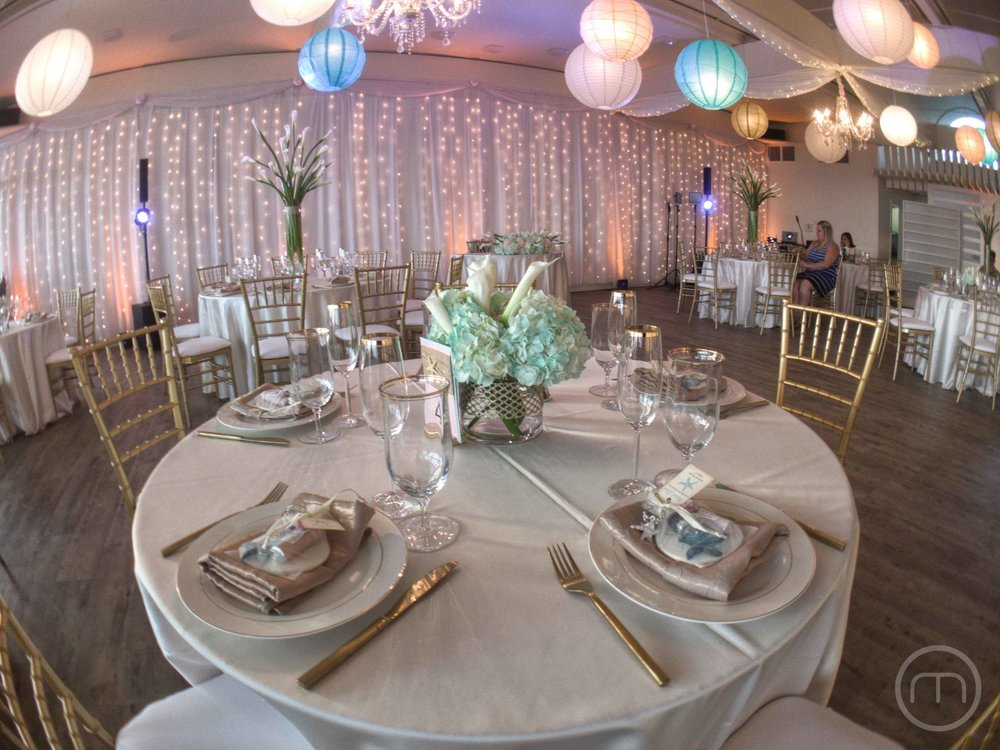 Malibu West Beach Club Wedding Reception Setup