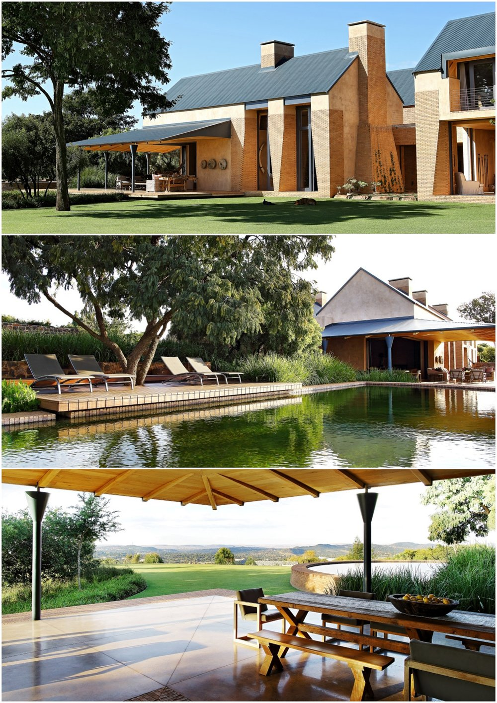 The farmhouse is situated on the crest of a hill to the southeast of the traditional city centre of Pretoria. The topographical position of the site enables nearly 270 degree views to the west and the north, as well as in an easterly direction. The density of the vegetation of the lower-lying areas is such that one is an a rural area, specifically during the day. The uniqueness of the site and nostalgia for what was or could be within the exclusivity of this specific residential area could be considered as some of the driving forces for the design of the building. The attention to detail - from the swimming pool to the staircase, to the upper level in the 'silo', to the shaping of the thick brick walls, to the solid wood roof trusses - is impressive and obviously made to last beyond just a couple of generations.