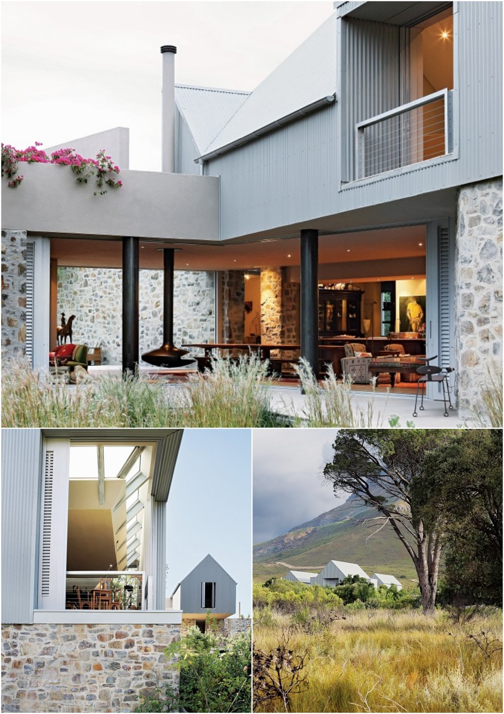 Sinkhuis is a new residence for Johann Slee and his family, situated just outside the historic core of Stellenbosch. The site itself is on the cusp of a low hill, between the Jan Marias Nature Reserve and the Eerste Rivier Valley. The dream was to create a plaasdorpshuis,in a similar spirit to the many simple and direct structures of its kind to be found on farms all over the country. The simplicity of the recognisable profile of the house belies the complexity of the geometry within the sheds. The views from the terraces stretch towards the north and east, but maybe the most surprising one is from the terrace on the top of Johann's studio. This is an expertly crafted and carefully designed building. It is largely motivated by the desire for a rural lifestyle and its symbolic forms.