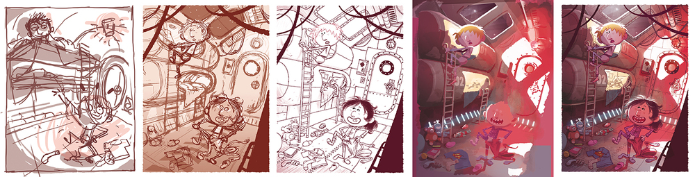 Process of an illustration from thumbnail to final.