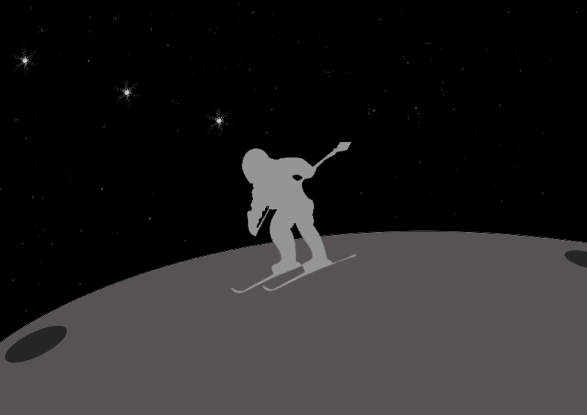 Moon 's surface is very powdery. No air resistance and less gravity, will make skiing a suitable sport and means of transportation
