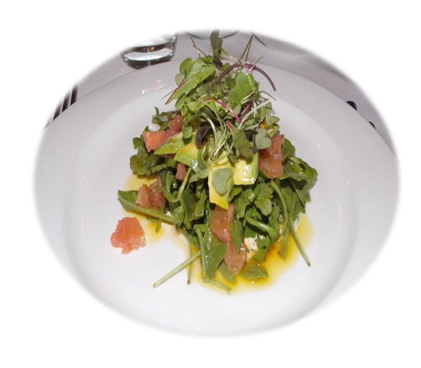 """The original foodie! Always on the lookout for """"good for you food"""" that tastes good too – like this amazing arugula, avocado, mango salad in Mangere, New Zealand."""