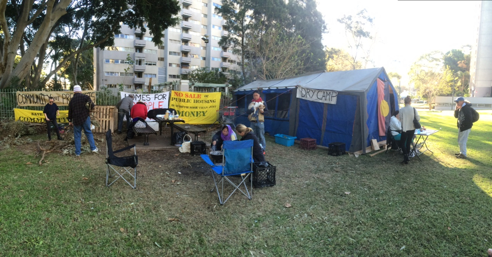 Waterloo Tent Embassy gathering signatures on their petition to prioritise residents over developer plans, renovate not replace and to not sell public land to private investors.
