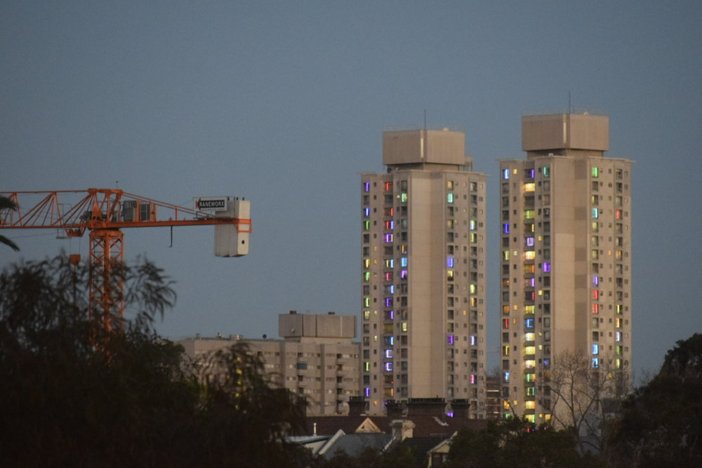 The GuardianThe Art Project Making Public Housing in Sydney's Waterloo Glow - Every night for the past few weeks, the twin towers at the Waterloo public housing estate have slowly begun to light up. At 30 storeys, the Matavai and Turanga buildings loom over the rest of the estate, and at 5.30pm each evening new windows have started blinking on like fairy lights to join the others. more