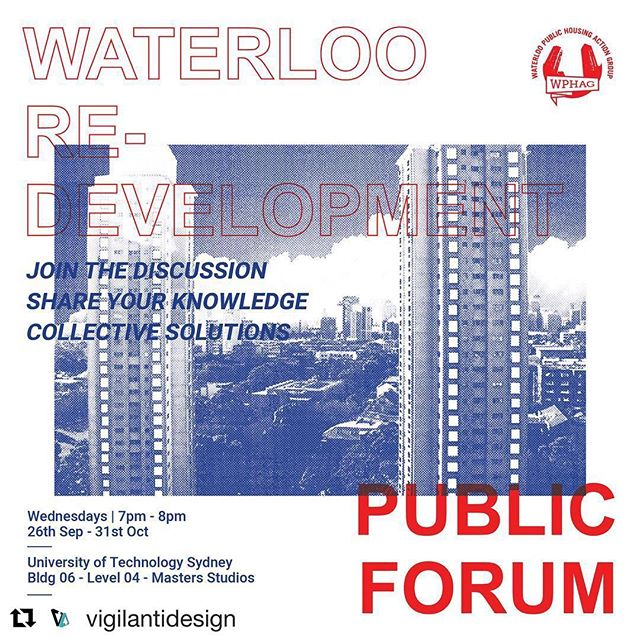 #Repost @vigilantidesign (@get_repost) ・・・ We would like to invite you to join us in a series of public forums to discuss the Waterloo Housing Estate Re-development in an effort generate public awareness on this significant issue as well as expand the knowledge base of the community. We encourage students, academics, professionals, and NGO's to input and support our alternative recommendations on specific topics relating to the re-development masterplan options that have been recently released.  Let's learn more and do more collectively!  Email hello@vigilanti.com.au to join our mailing list and find out more.