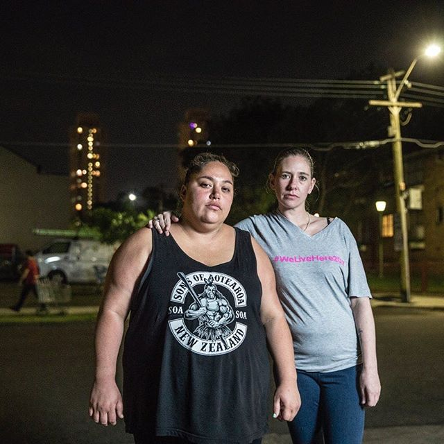 'I think growing up here, it makes you not such a judgemental person...You don't know their story, you don't know what they are going through. But they know that you live here too so, you're from this community, and they're more likely to accept you' Becz (right) with Oriwa (left), #WeLiveHere2017  #RedfernAboriginalTentEmbassy #Redfern #Waterloo #Resistance #colonisation #ThereGoesOurNeighbourhood #FutureCity #SustainableDevelopment #creativity #protest #HousingRights #friendship #community #waterloo #redfern  Photo 📷 @jessicahromas