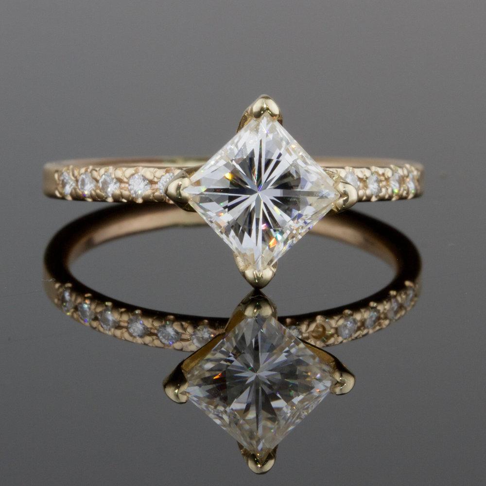 1.2 Ct Solitaire Princess White Diamond Art Deco Engagement Ring