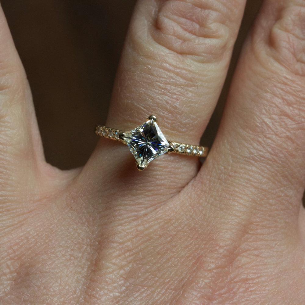 12 ct Solitaire Princess White Diamond Art Deco Engagement Ring