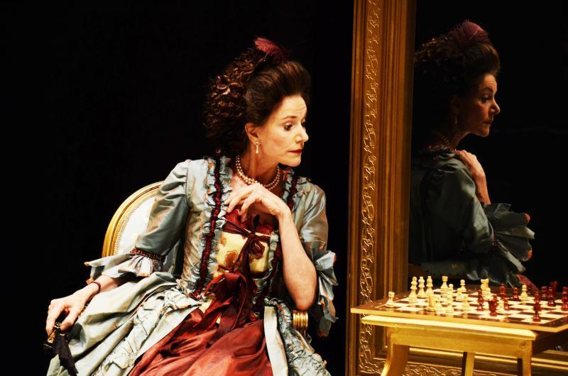 Belinda Lang as Lady Sneerwell in The School for Scandal Park Theatre 2013 Credit Nobby Clark.jpg