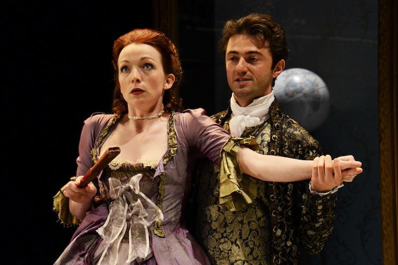 L-R Kirsty Besterman (Lady Teazle) Tom Berish  (Joseph Surface) The School for Scandal Park Theatre 2013 Credit Nobby Clark.jpg