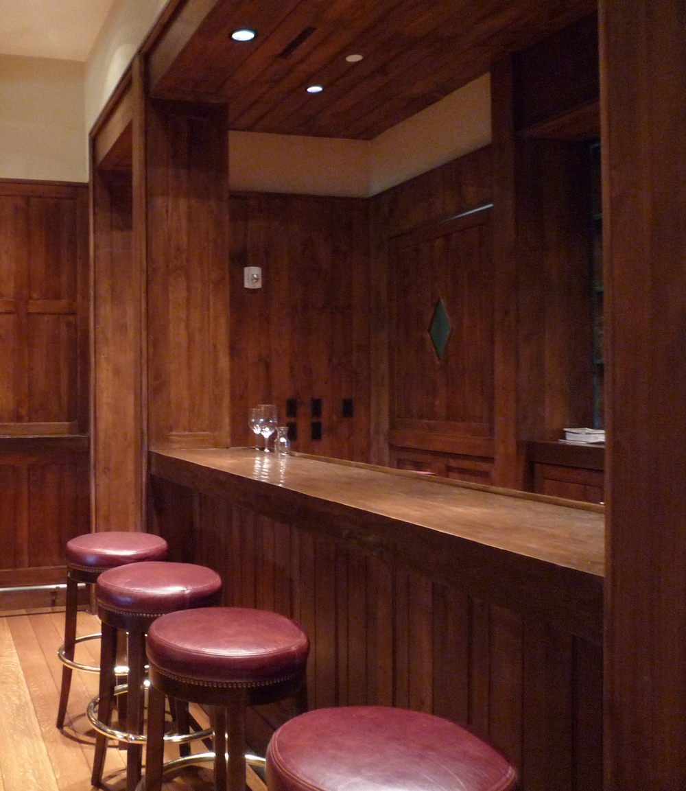 New Rough-Hewn Timber Counter and Leather Bar Stools