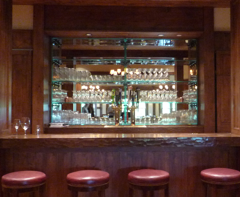 New Rear Glass Shelving and Mirrored Back Bar