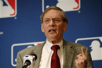 Bud Selig speaks at a news conference the day after the Mitchell Report was released (via Getty Images)