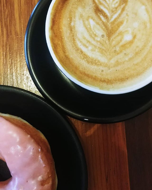Happy Valentine's Day! I'm not going to lie, I went to @elixrcoffee because I knew they serve @dottiesdonuts and I wanted a pink one. The latte was good too.  How are you all celebrating Valentine's? Single, coupled, married, divorced - find some love today and drink it in!  #elixrcoffee #dottiesdonuts #vegansofig #vegan #whatveganseat #latteart #latte #vegandonuts #donut #valentinesday #red #pink #hearts #heart #love #loveisintheair #engaged #engagement #engagementring #weddingplanner #phillyweddings #philadelphiaweddingplanner #phillyweddingplanner