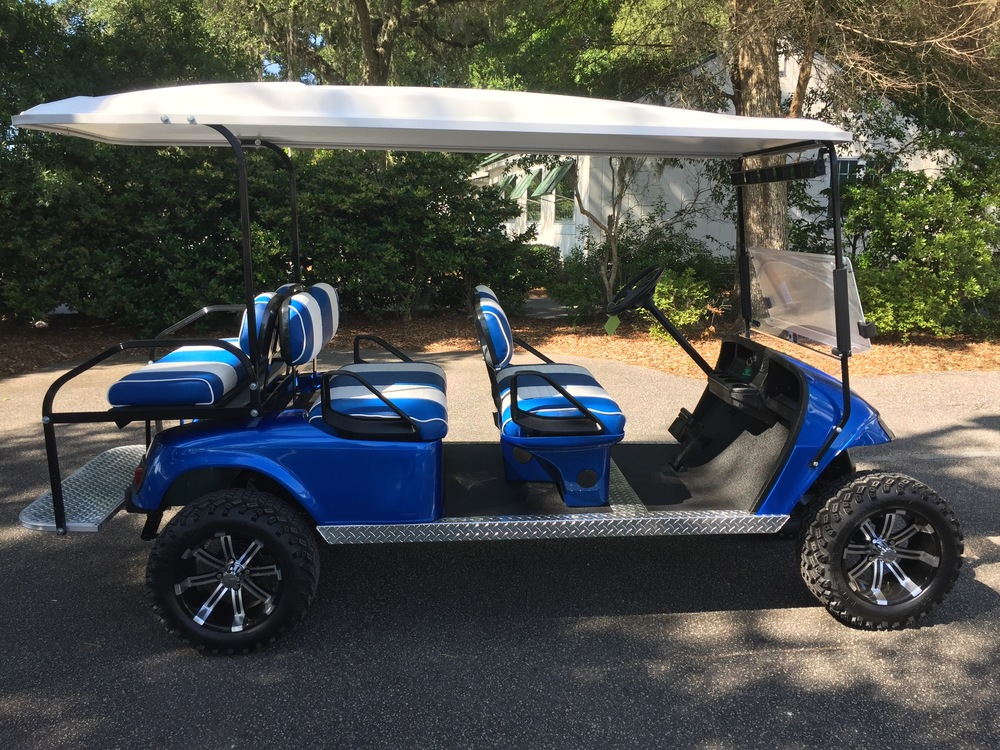 2014 Viper Blue EZGO Lifted Trolley         In Stock Blue/white seats, white top, new (2017) batteries, high speed code, LED lights, Backlash (23x10x14) tires, state of charge meter, mirror, and flip windshield