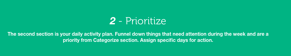 The next step is prioritization. It allows you to funnel things down that need attention and then you can plan by hour.