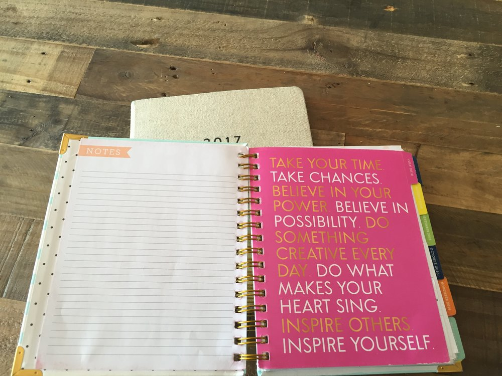 The planner was popping with color and filled with inspirational quotes.