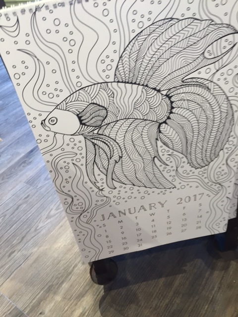 Yes this is a large adult or family coloring calendar. What a fun activity for you and or the family to do together.