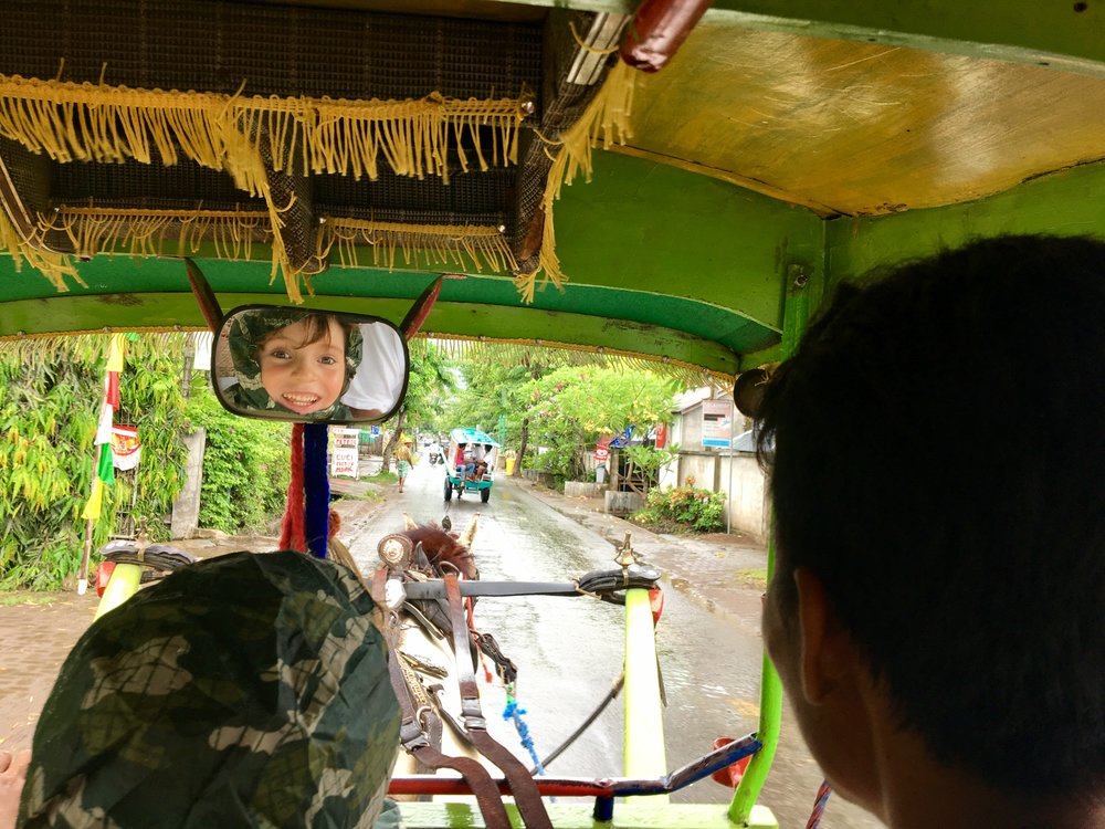 On the way tp the wedding in a horse and cart.